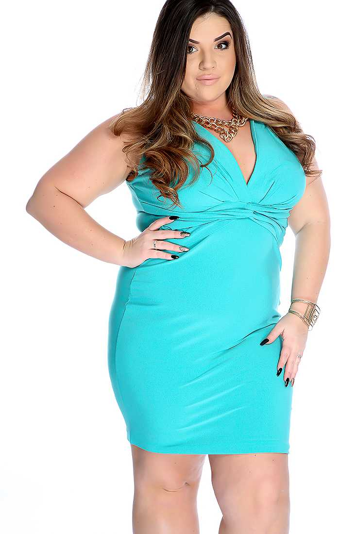 Mint Plunge Neck Knee Length Plus Size Dress