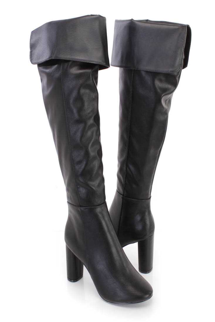 Black Cuffed Chunky High Heel Boots Faux Leather