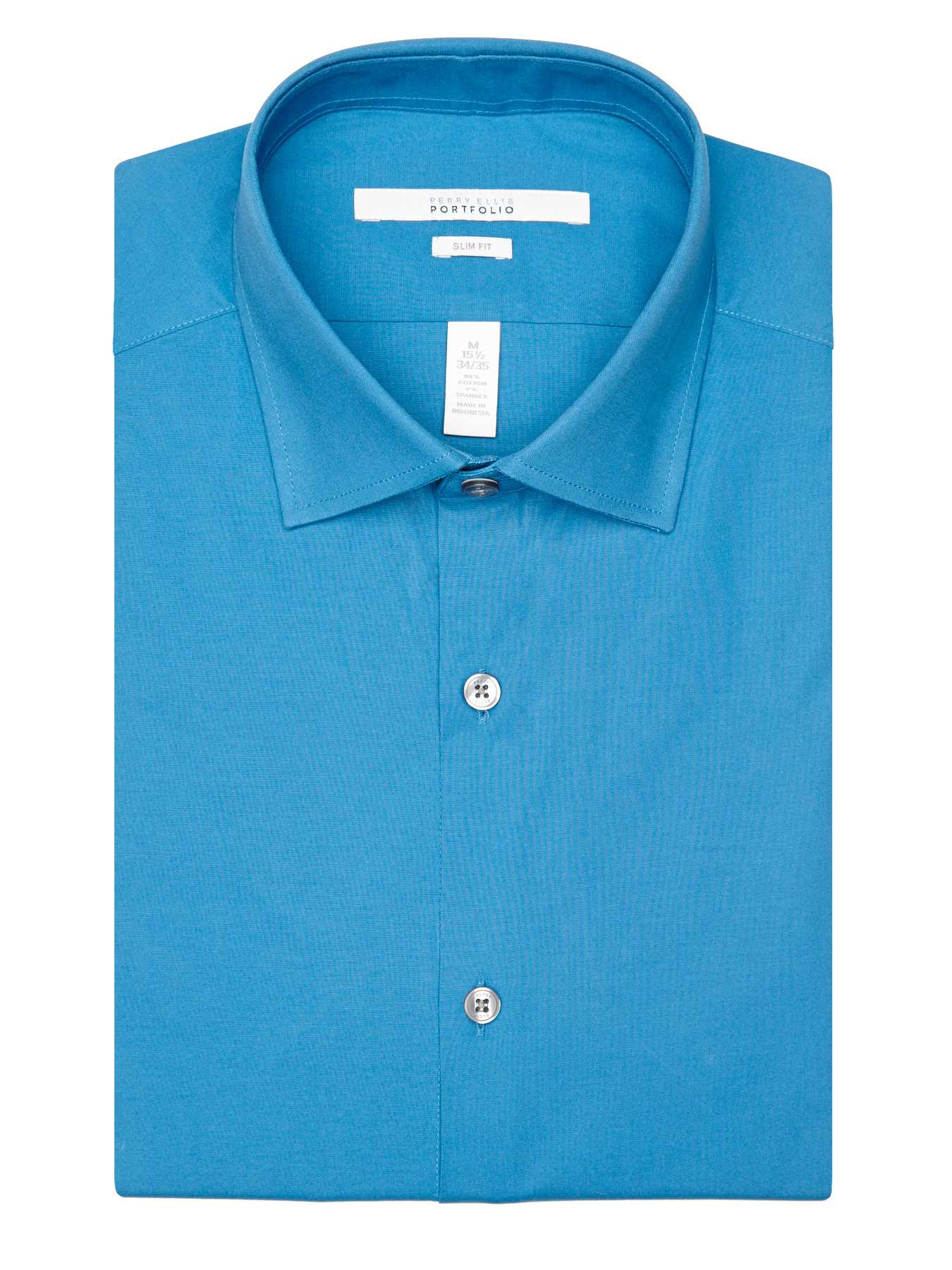 Perry Ellis Slim Fit Solid Poplin Dress Shirt