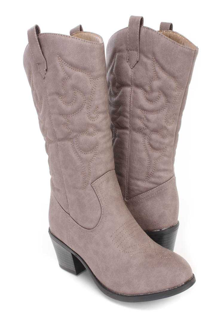Taupe Stitching Detailing Cowboy Boots Faux Leather