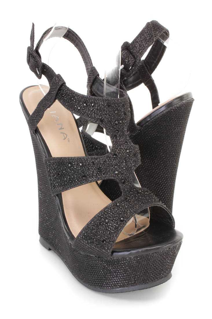 Black Rhinestone Decor Platform Wedges Shimmer Fabric