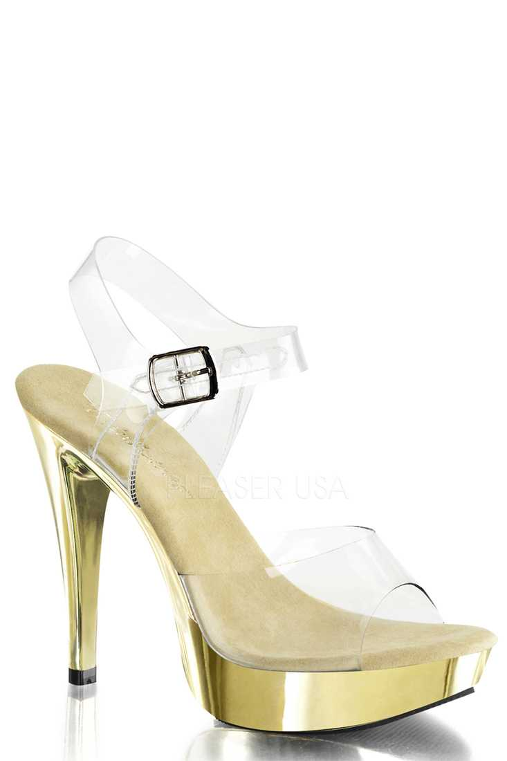 Clear Gold Strappy Chrome Platform High Heels PVC