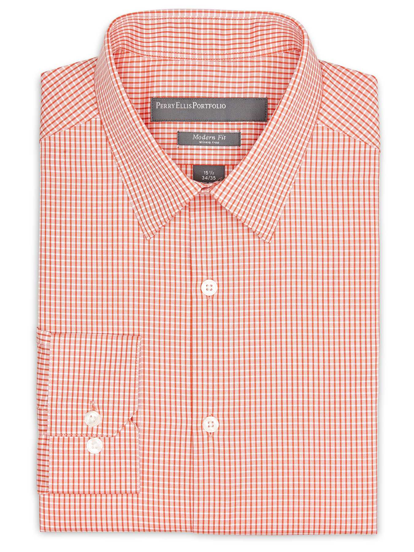 Perry Ellis Slim Fit Grid Check Dress Shirt