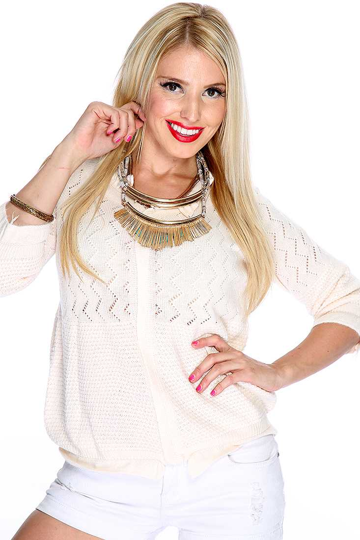 Cute Cream Quarter Sleeve Ruffle Trim Open Knit Sweater