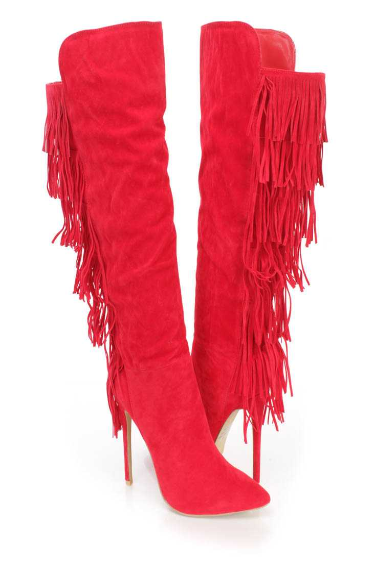 Red Fringe Pointy Toe High Heel Boots Faux Suede