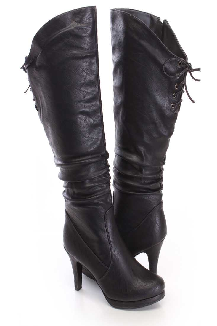 Black Slouchy Knee High Boots Faux Leather