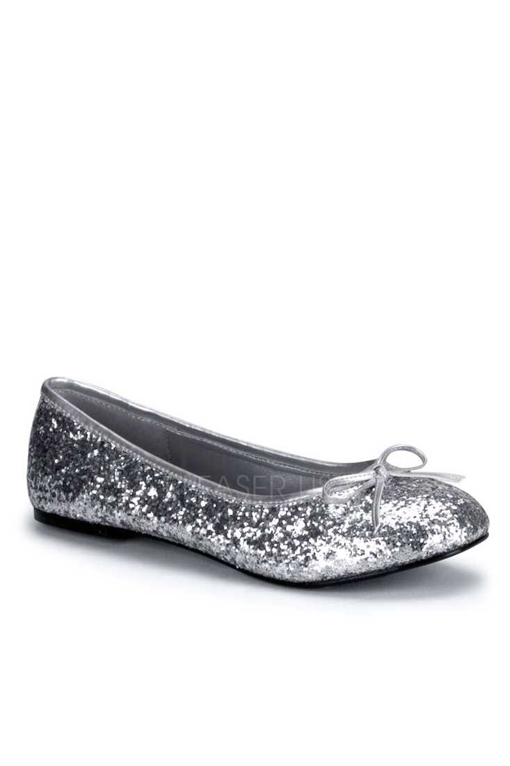 Silver Bow Tie Closed Toe Flats Glitter