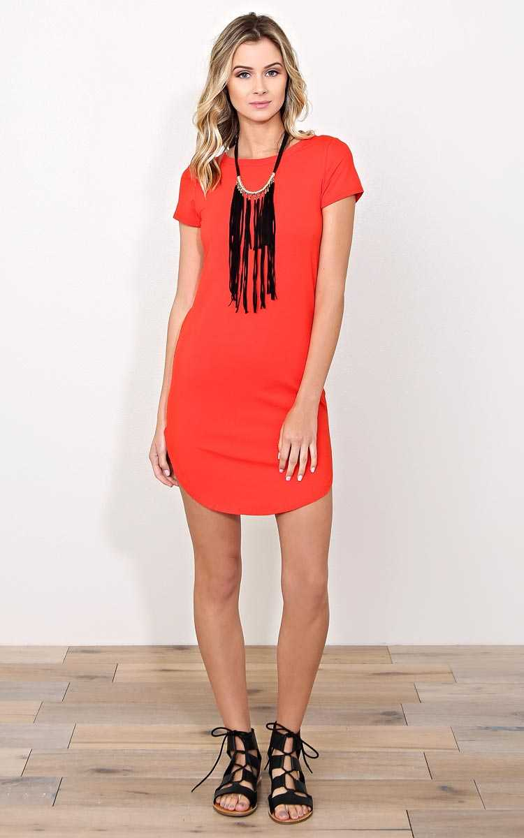 Day Date Knit T Shirt Dress - - Red in Size by Styles For Less