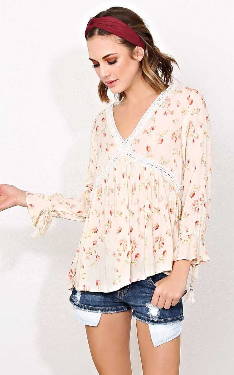 ANGIE Sweetest Thing Woven Gauze Top - - Ivry/Natrl in Size by Styles For Less