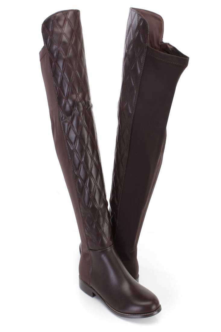 Brown Quilted Thigh High Riding Boots Faux Leather