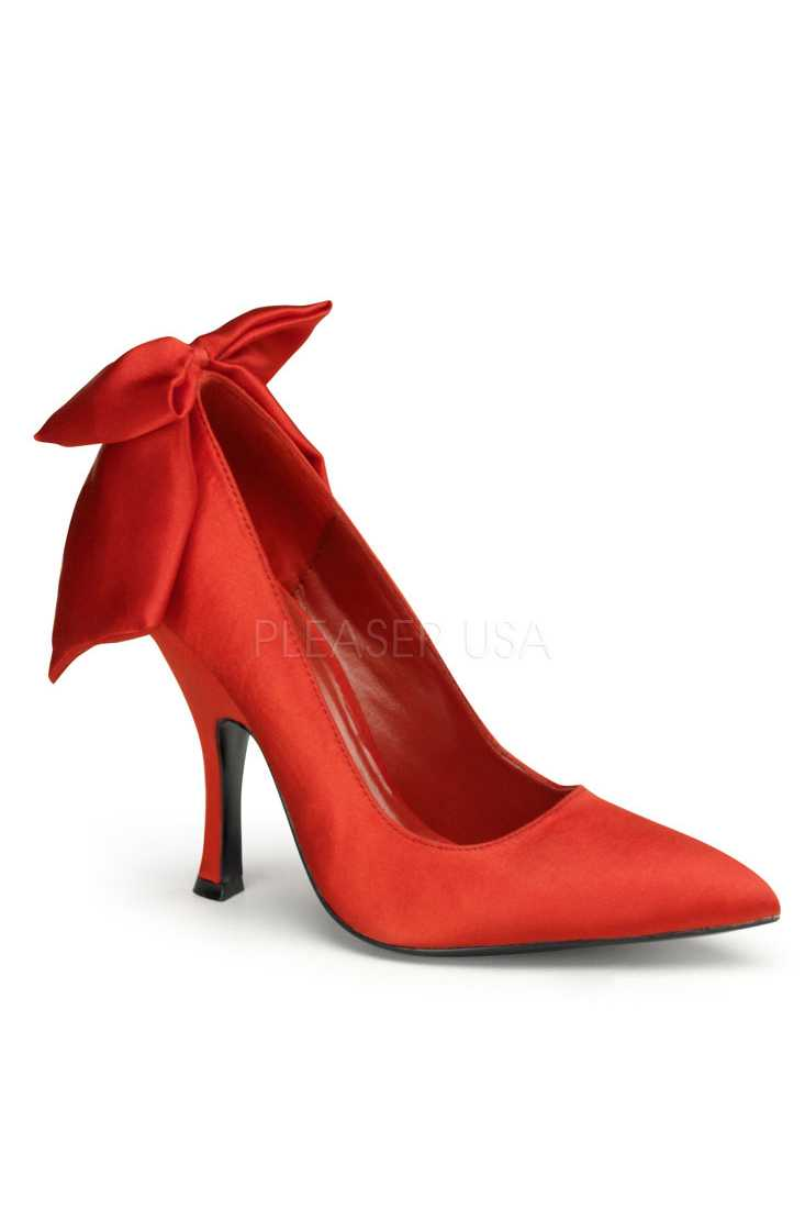 Red Bow Tie Single Sole Pump High Heels Satin