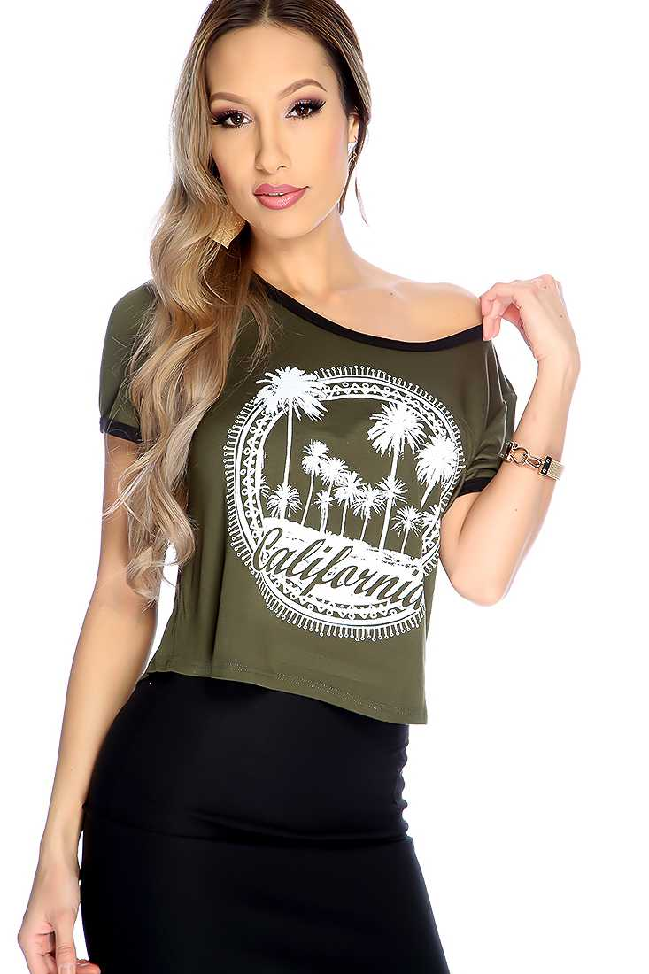 Olive Short Sleeve Graphic Print Casual Top