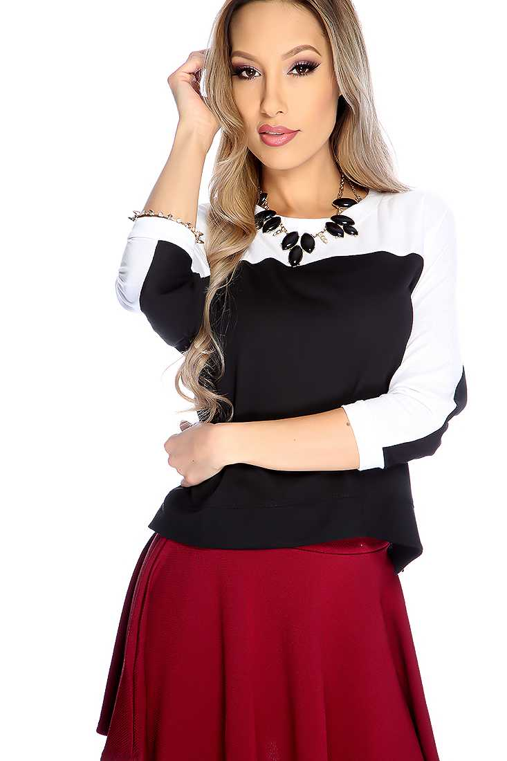White Black Long Sleeve Two Tone Causal Crop Top