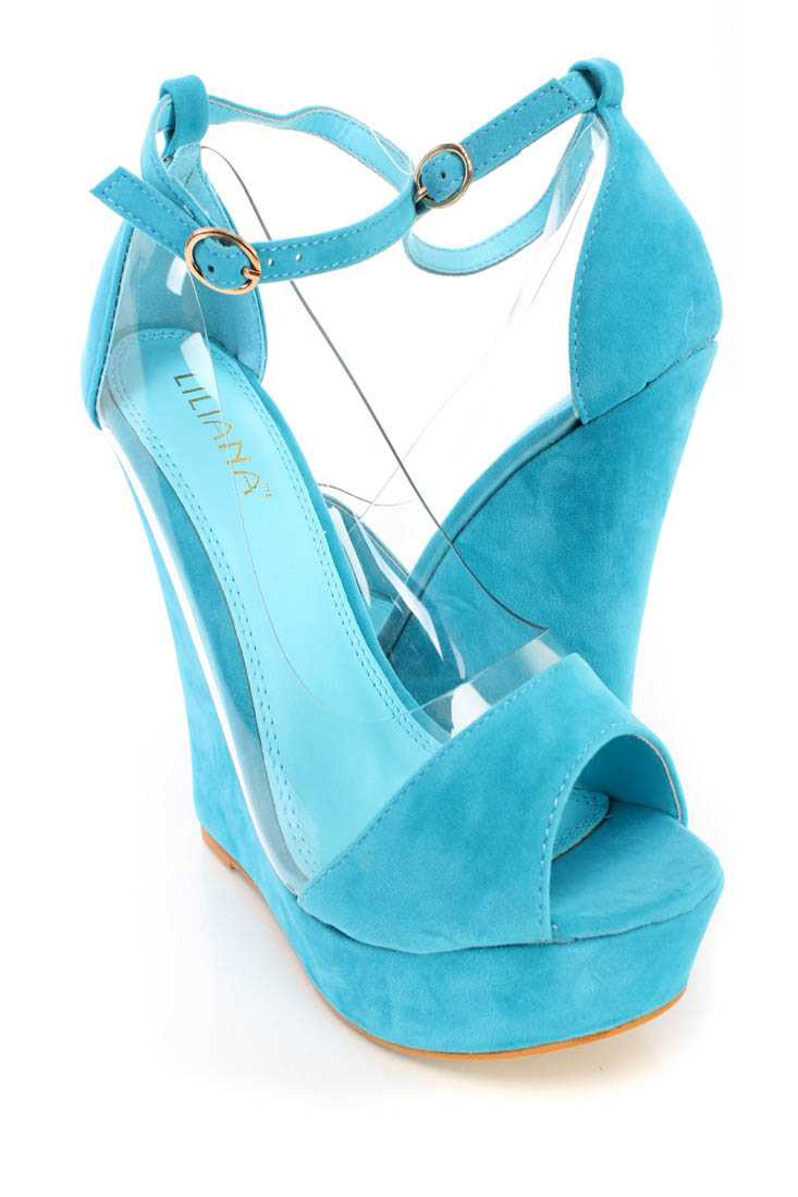 Turquoise Peep Toe Ankle Strap Wedges Faux Suede