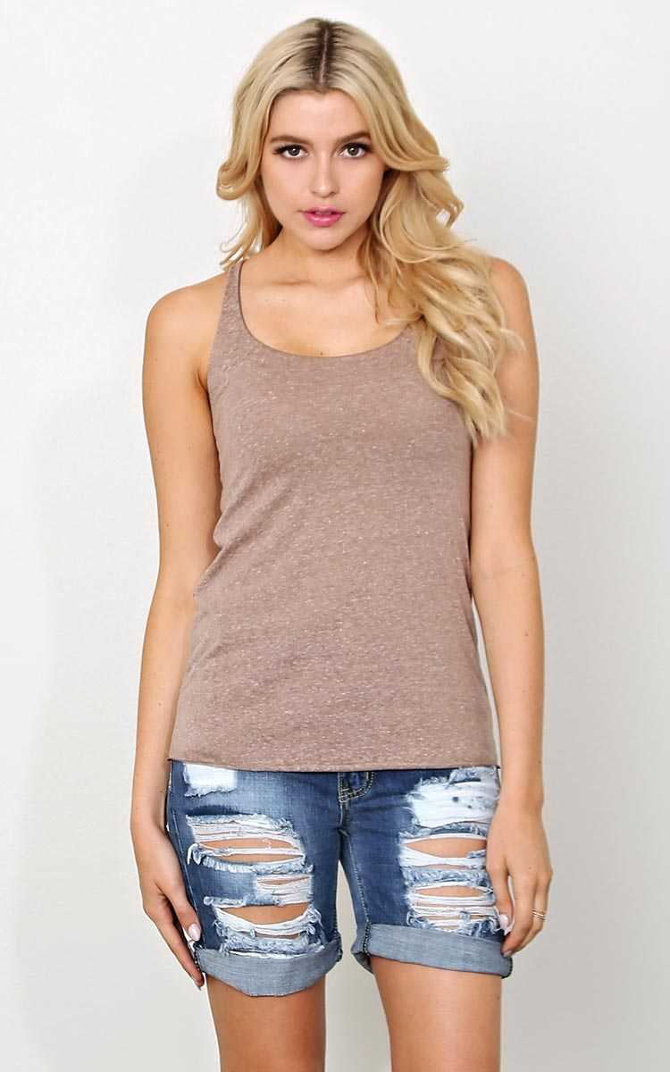 Heather Knit Tank - XLGE - Sand/Khaki in Size X-Large by Styles For Less