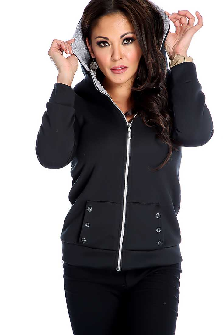 Stylish Black Long Sleeve Zip Up Sweater