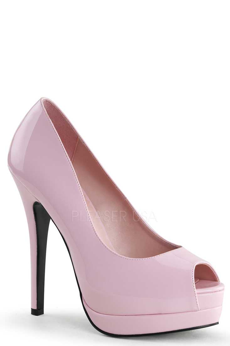 Baby Pink Peep Toe Pump High Heels Patent Faux Leather