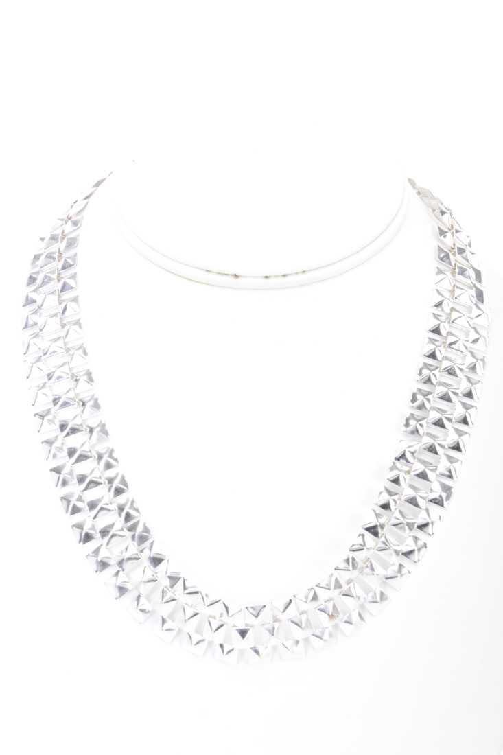 Silver High Polish Studded Metal Mesh Necklace