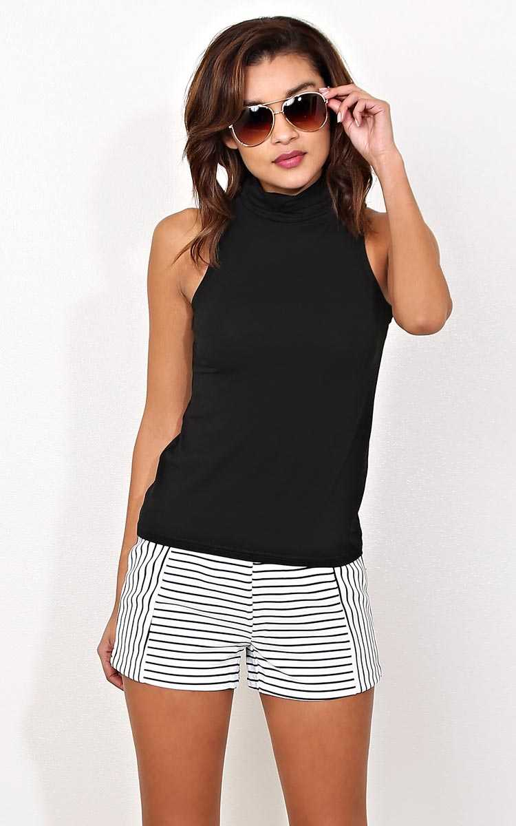 Regan Cowl Neck Knit Tank - SML - Black in Size Small by Styles For Less