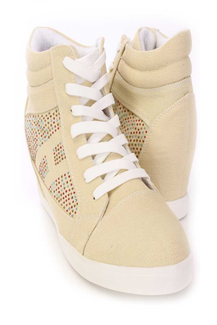 Beige Rhinestone Sneaker Wedges Canvas