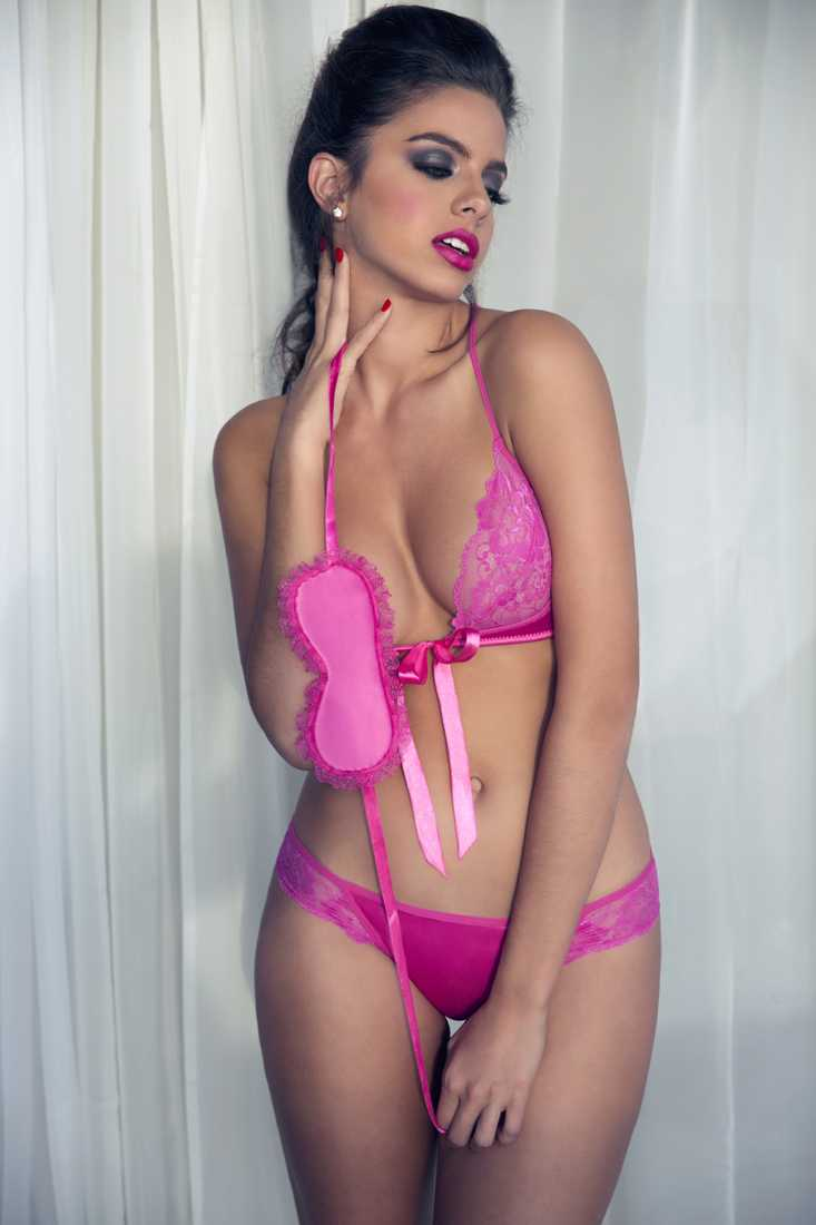 Hot Pink Lace Tie 3-Piece Undergarment Set