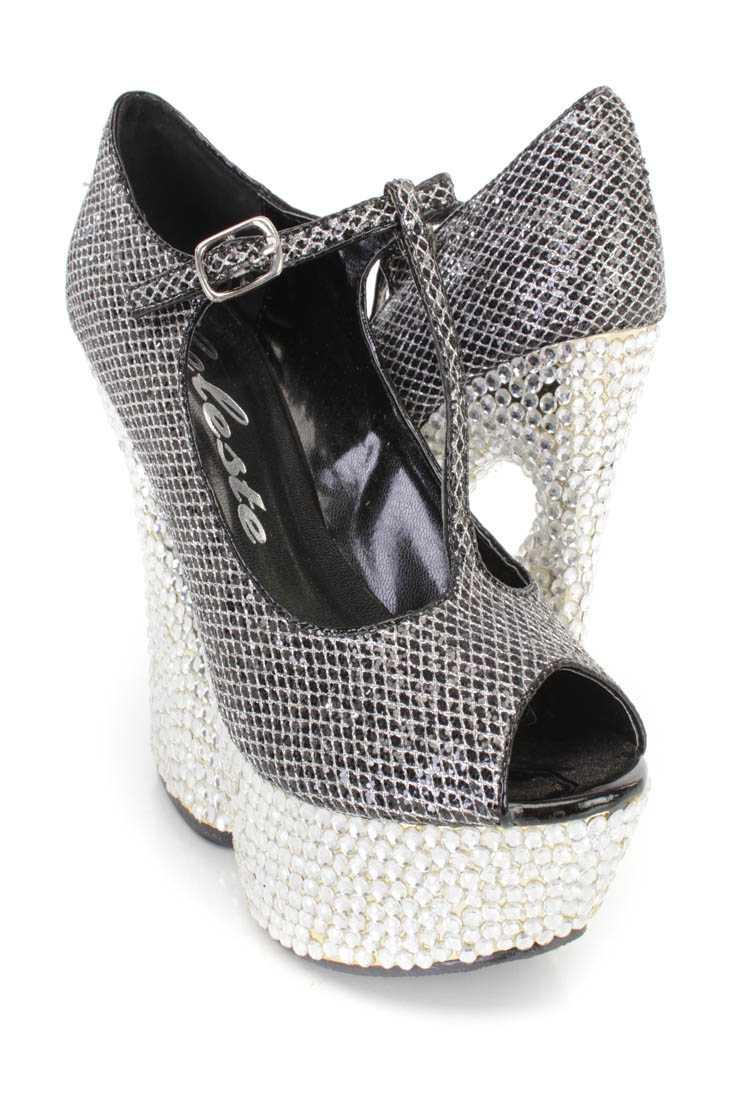 Black Rhinestone T Strap Platform Heels Glitter