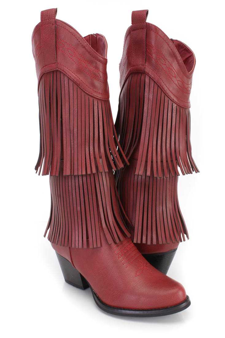 Red Stitched Fringe Western Boots Faux Leather