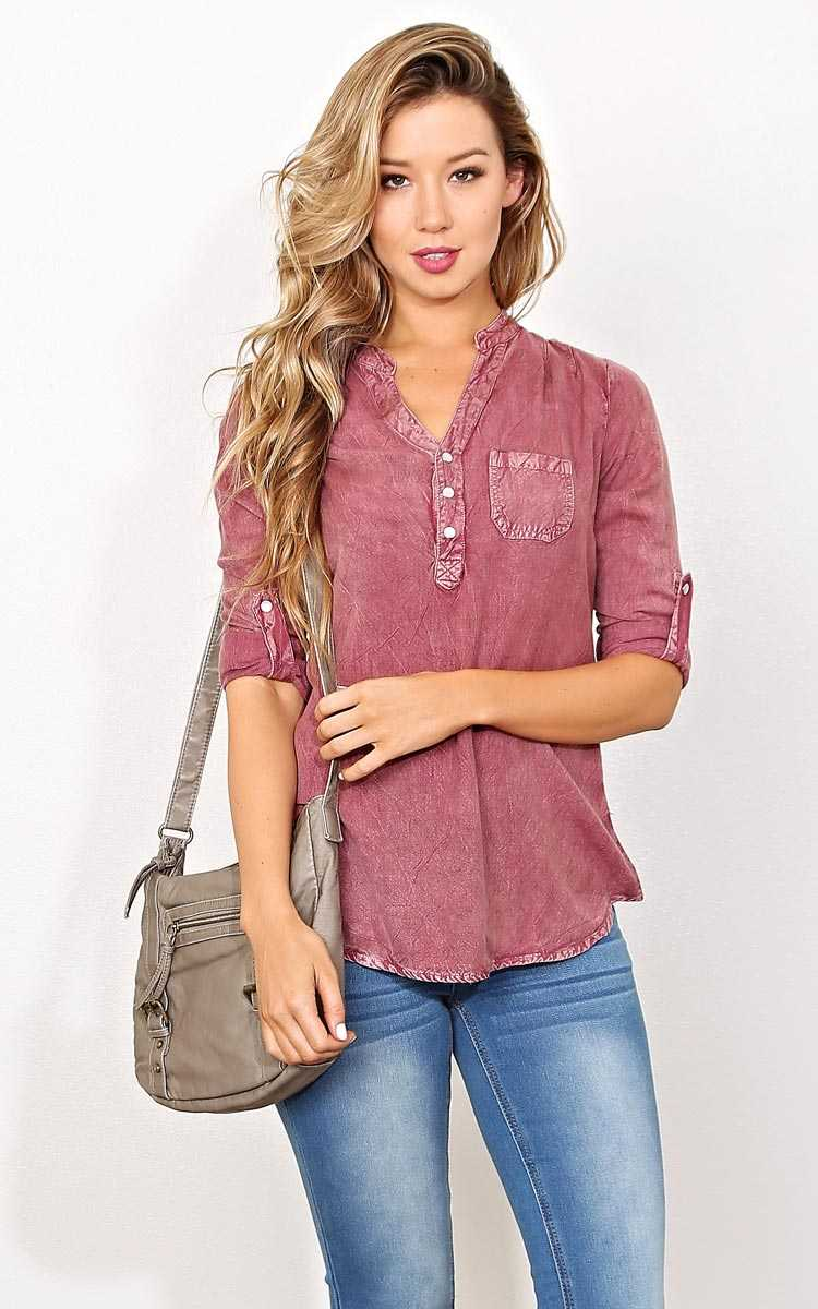 Jaded Mineral Wash Woven Top - - Burgundy in Size by Styles For Less