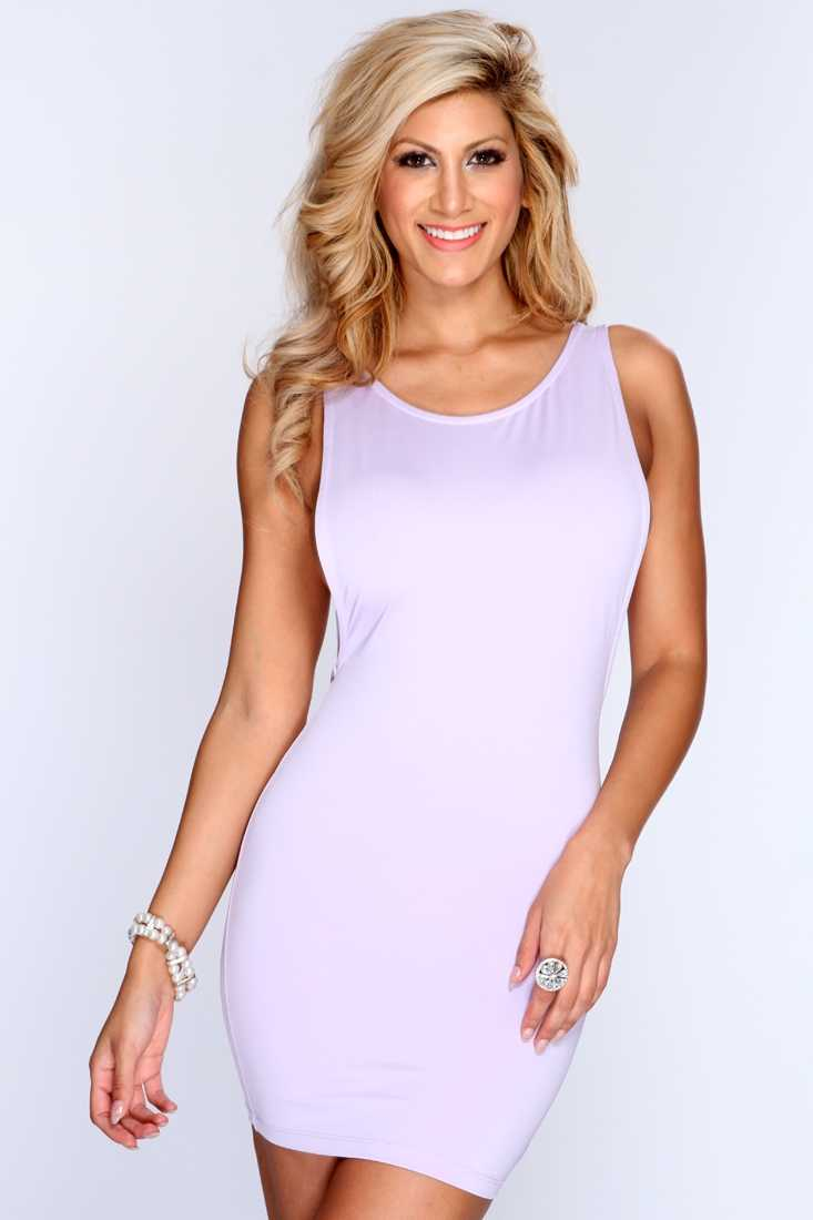 Lavender Backless Sleeveless Bodycon Party Dress