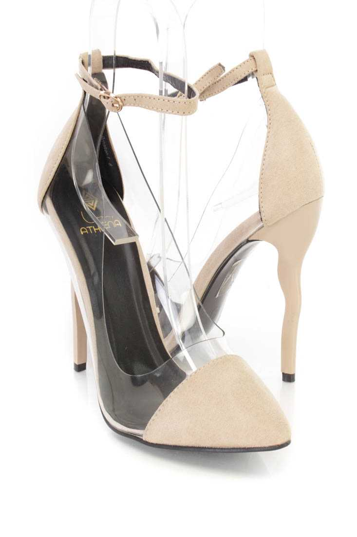 Nude Ankle Strap Single Sole High Heels Faux Suede