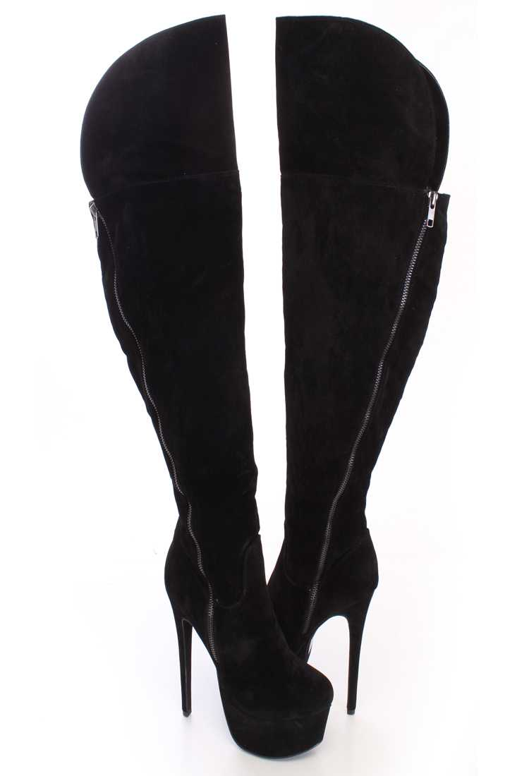 Black Thigh High Heel Boots Faux Suede