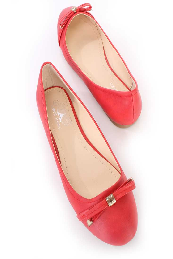 Red Bow Tie Accent Ballet Flats Faux Leather