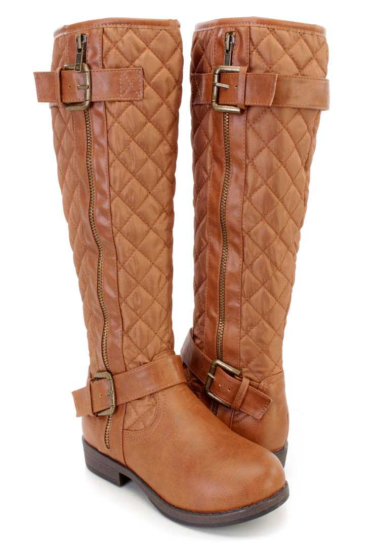 Camel Stitched Quilted Strappy Riding Boots Nylon