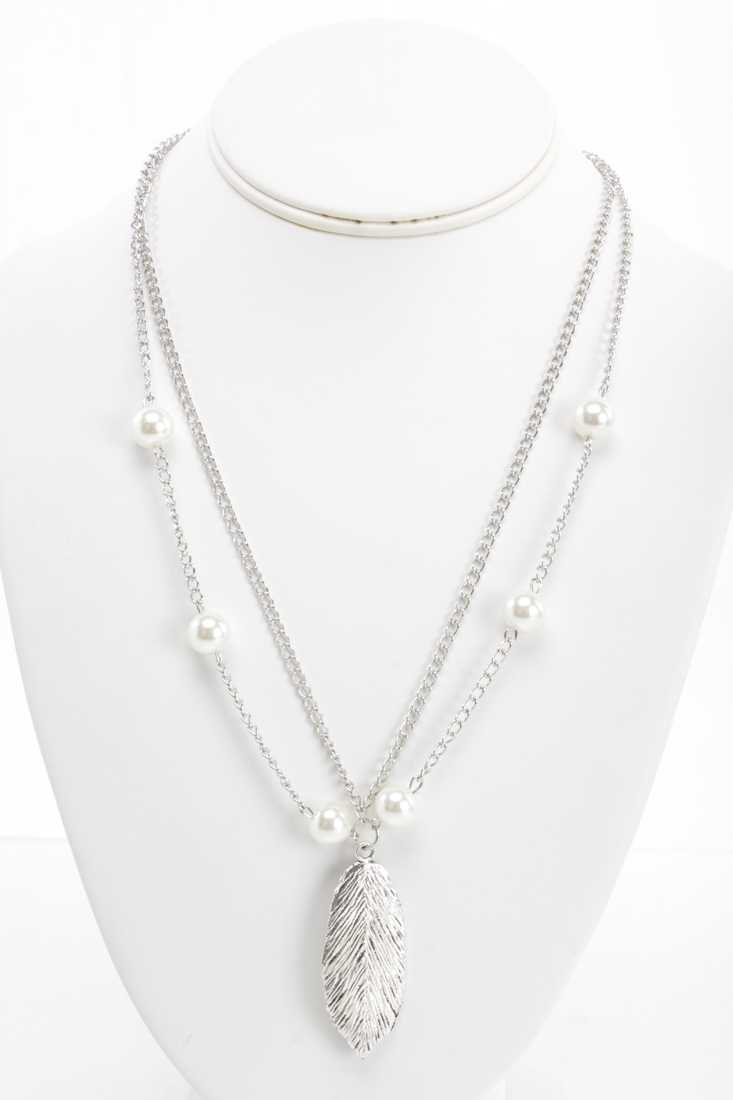 Silver Faux Pearl Leaf Accent Double Chain Necklace