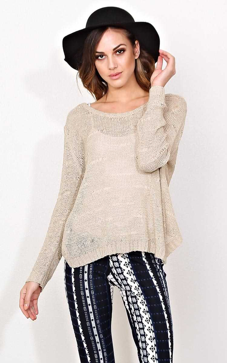 Sienna Sweater Knit Top - SML - Taupe in Size Small by Styles For Less