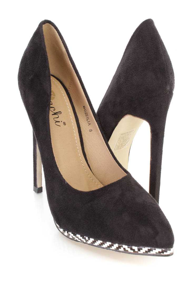 Black Pointed Toe Single Sole Pump High Heels Faux Suede