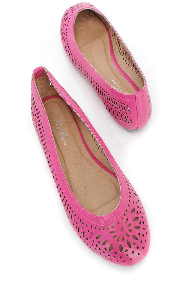 Fuchsia Faux Leather Perforated Closed Toe Flats