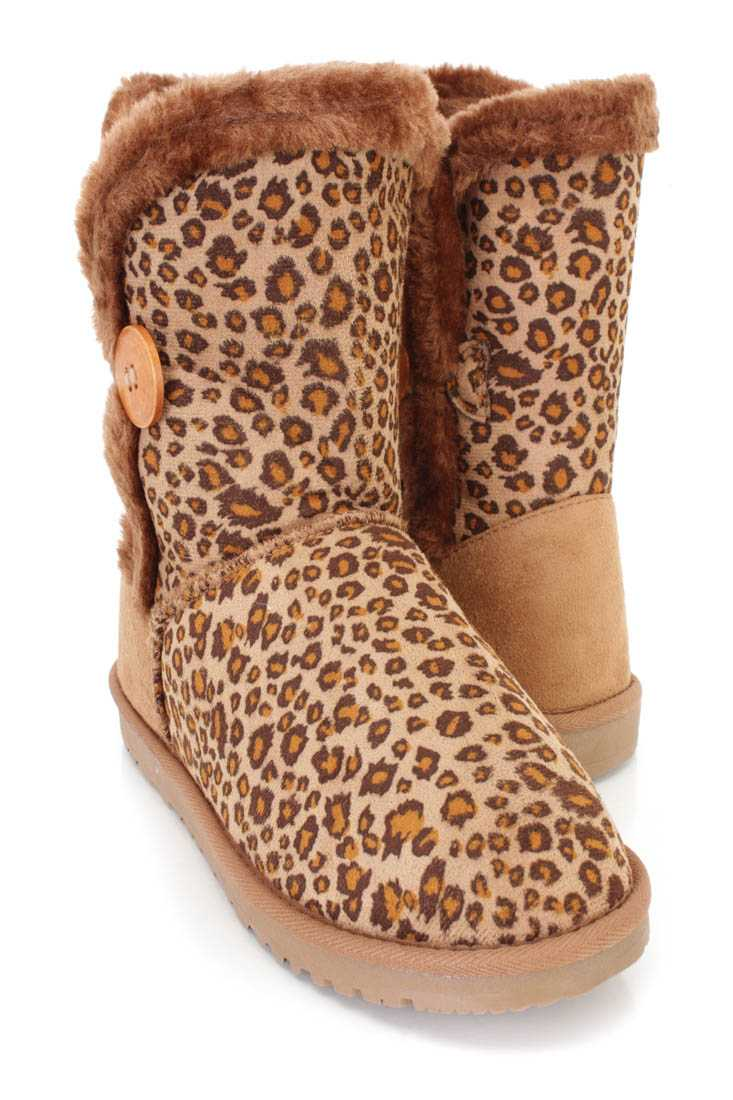 Leopard Faux Fur Trimmed Casual Booties Faux Suede