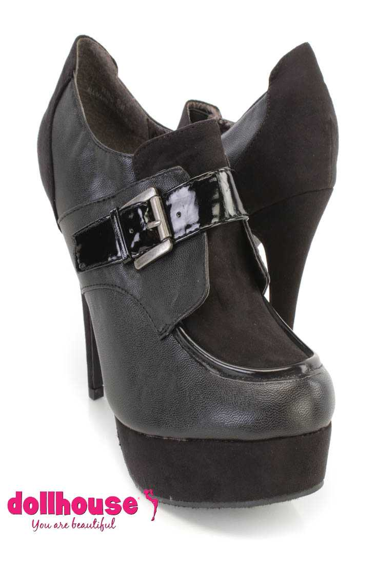 Black Buckle Strap Loafer Bootie Heels Faux Suede