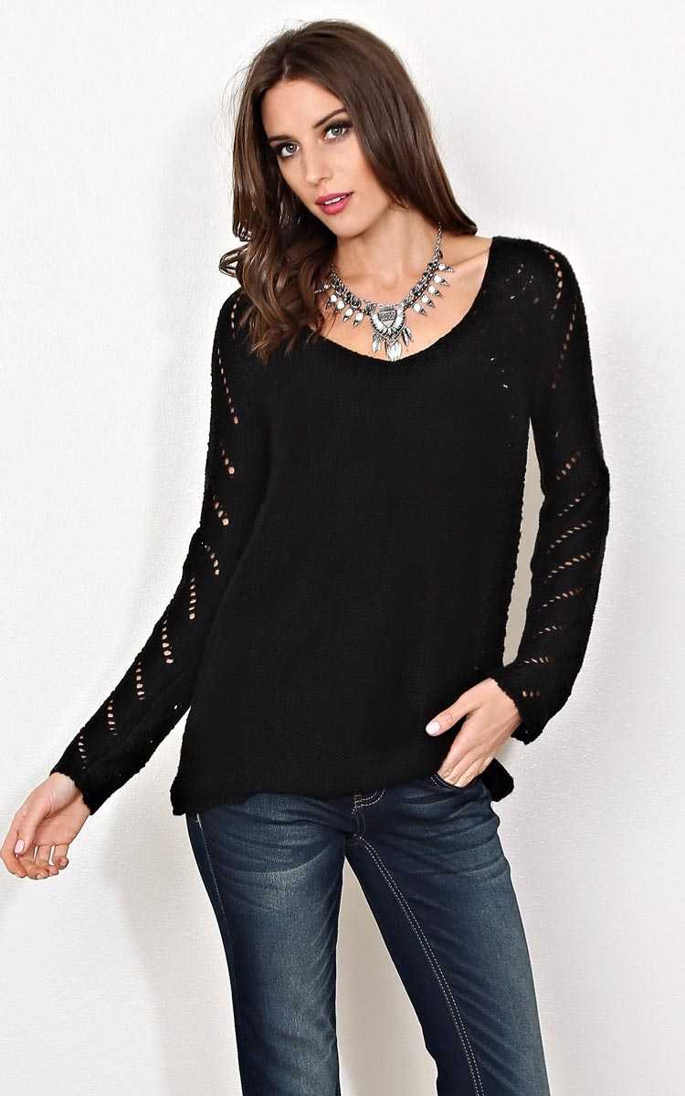 Arina Eyelet Knit Sweater - SML - Black in Size Small by Styles For Less