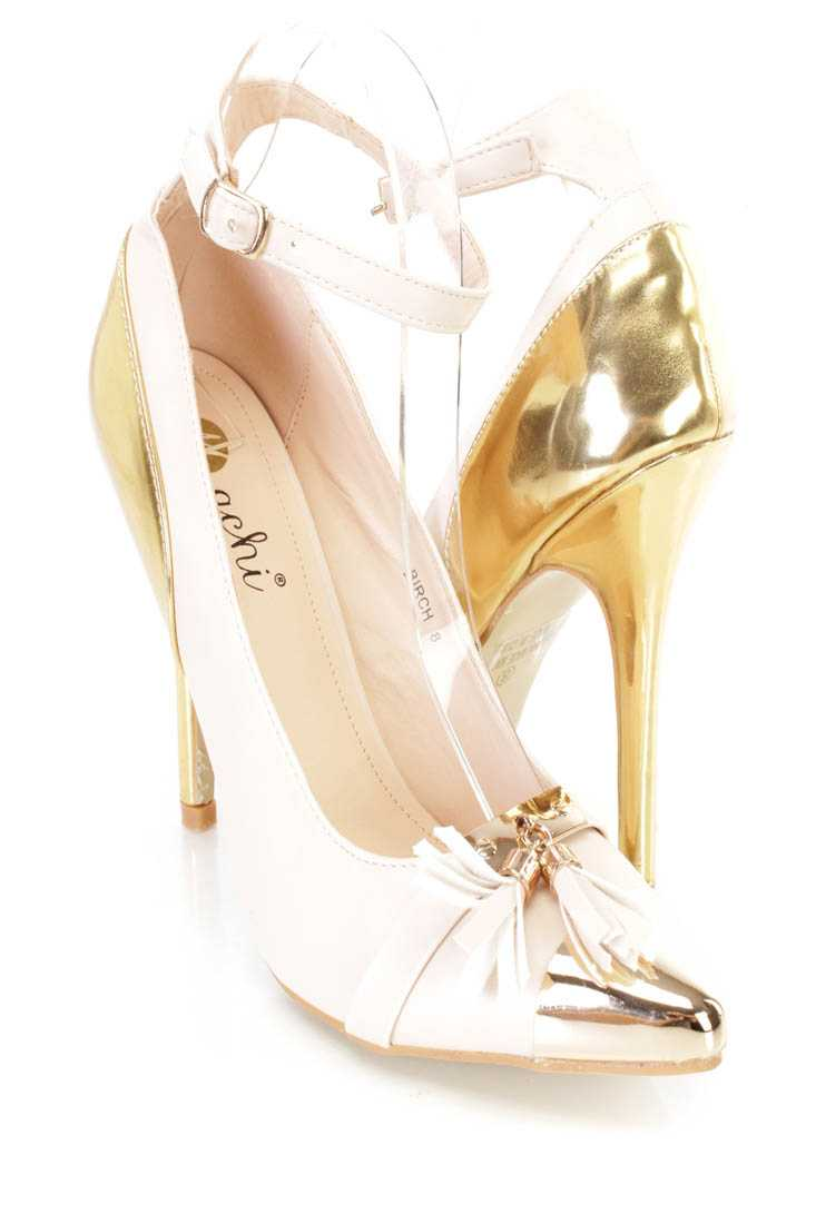 Nude Metallic Accent Tassel Decor Single Sole Heels Faux Leather
