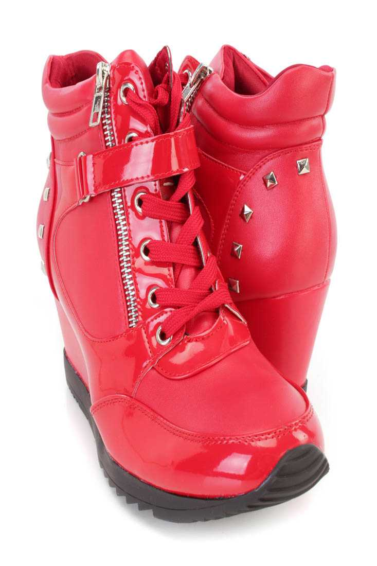 Red Studded Mid Strap Sneaker Wedges Faux Leather