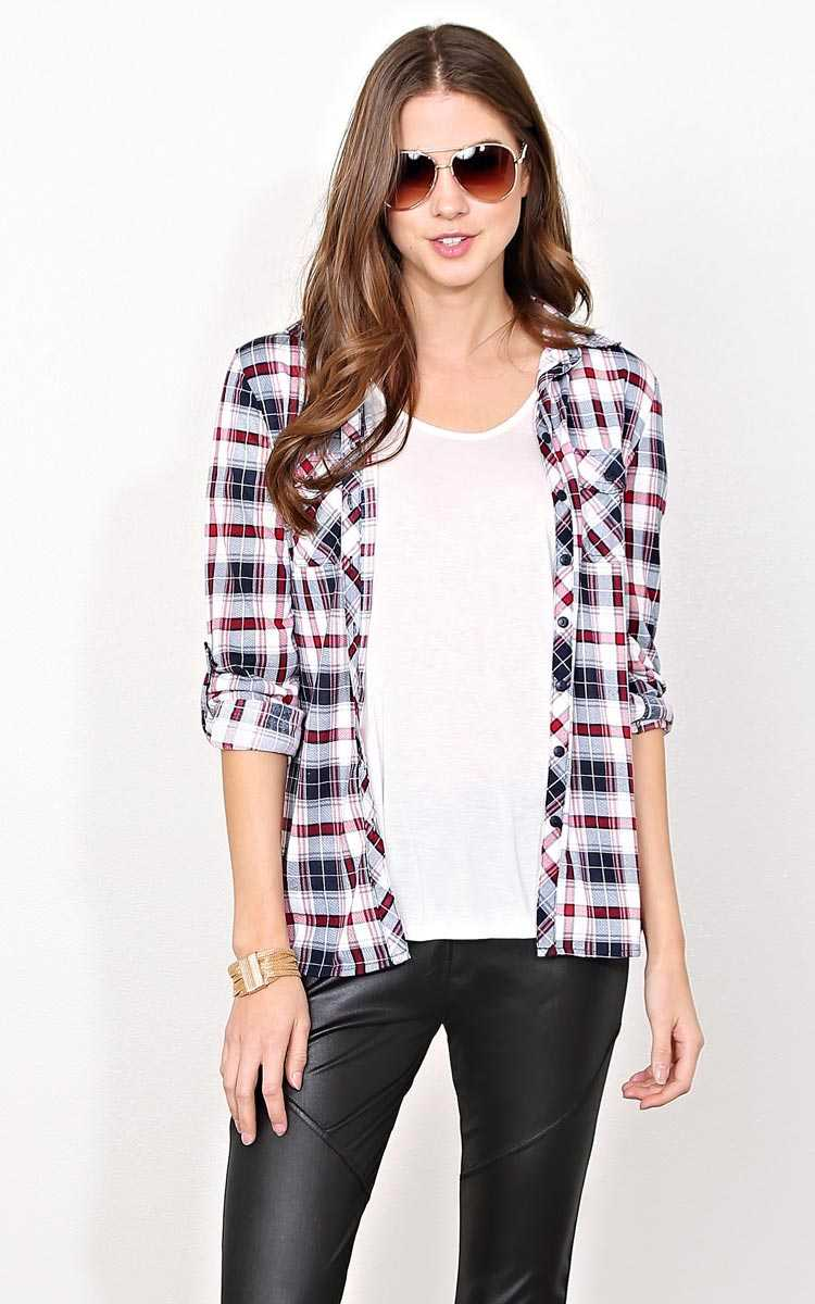 Upper Eastside Knit Plaid Top - - Red Combo in Size by Styles For Less
