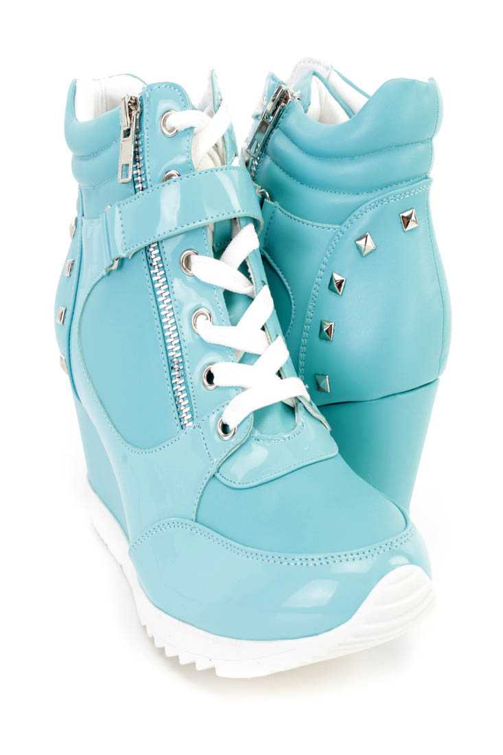Blue Studded Mid Strap Sneaker Wedges Faux Leather