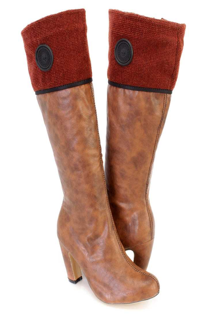 Camel Mid Calf Chuky Heel Boots Faux Leather