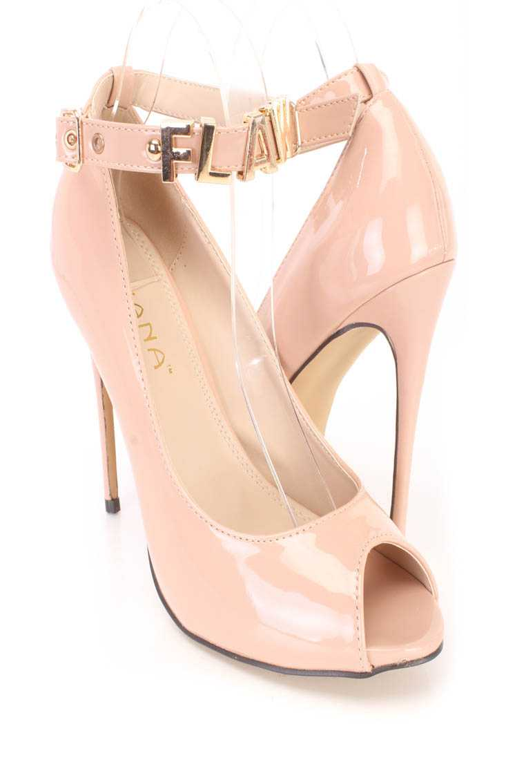 Nude Flawless Ankle Strap Single Sole Heels Patent