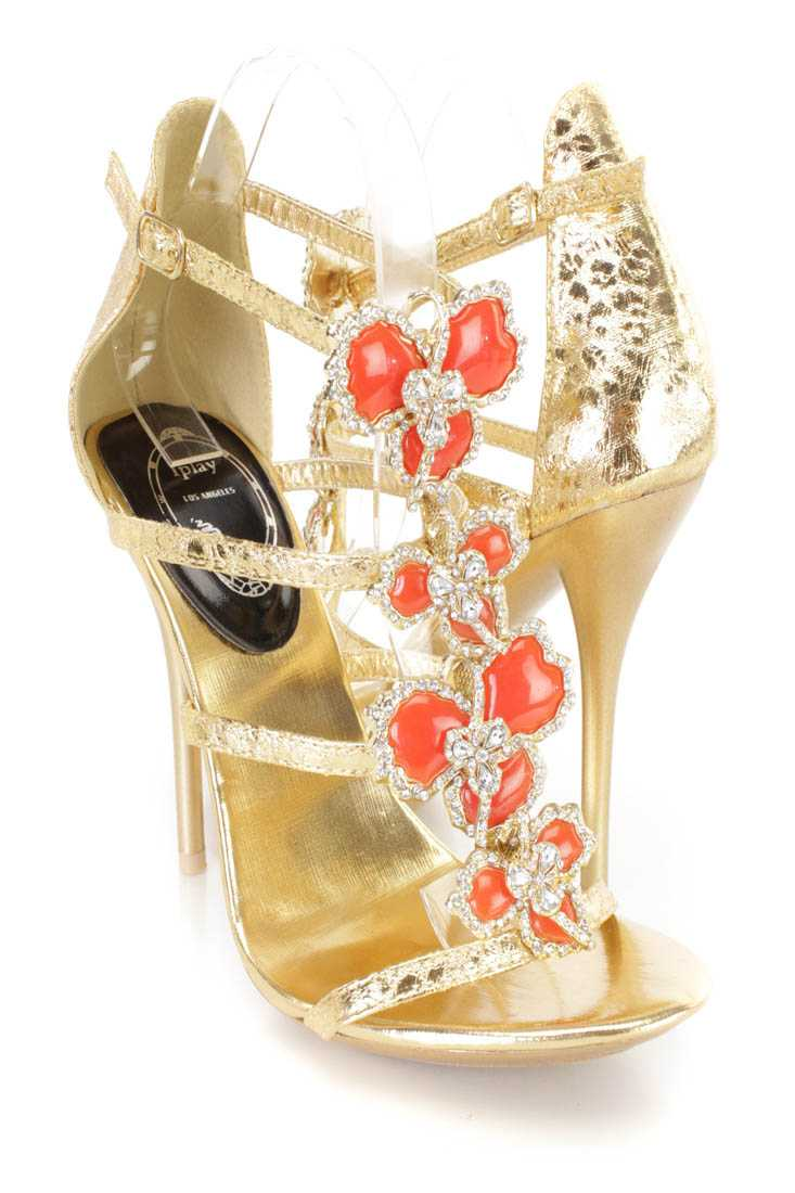 Gold Rhinestone Beaded Strappy Heels Faux Leather