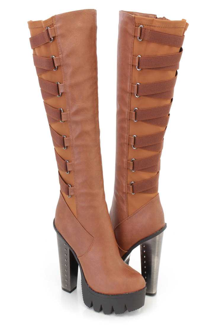 Cognac Elastic Strappy Knee High Chunky Heel Boots Faux Leather