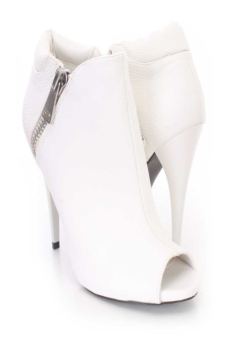 White Peep Toes Ankle Booties Faux Leather