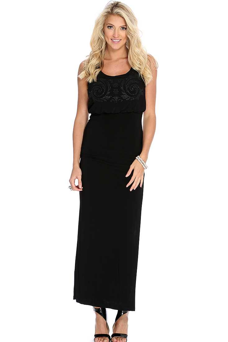 Black Beaded Design Cut Out Sexy Maxi Dress